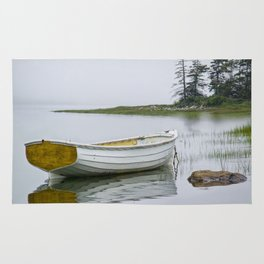 White Maine Boat on a Foggy Morning Rug