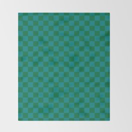 Teal Green and Cadmium Green Checkerboard Throw Blanket