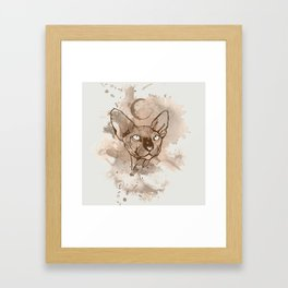 Watercolor Sphynx (Sepia/Coffee stain) Framed Art Print
