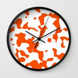 Large Spots - White and Dark Orange Wall Clock