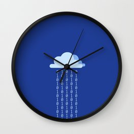 Digital rain on a blue background Wall Clock