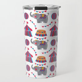 Colorful red blue gray watercolor elephant circus pattern Travel Mug
