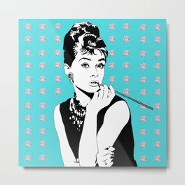 Audrey Hepburn as Holly Golightly with diamond background Metal Print