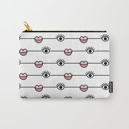 Funky Graphic Lips and Eyes Pattern Black, Pink, White Carry-All Pouch