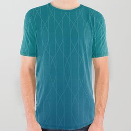 Wave pattern in teal All Over Graphic Tee
