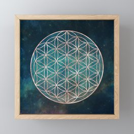 Mandala Flower of Life Rose Gold Space Stars Framed Mini Art Print