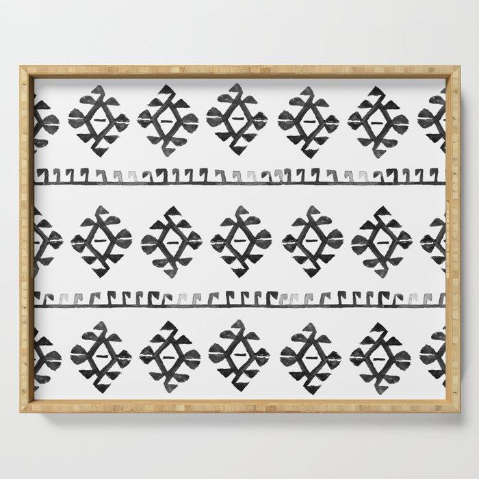 Black and White Bohemian Tribal Ethnic Kilim Pattern Serving Tray