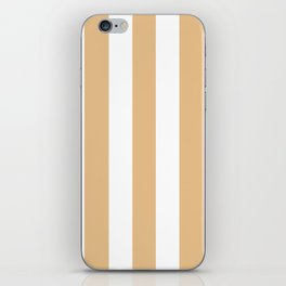 Gold (Crayola) pink - solid color - white vertical lines pattern iPhone Skin