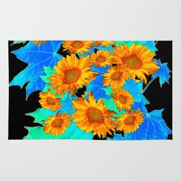 Decorative Black Pattern Blue Leaves Sunflowers Rug