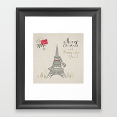 Eiffel Tower Merry Christmas Framed Art Print