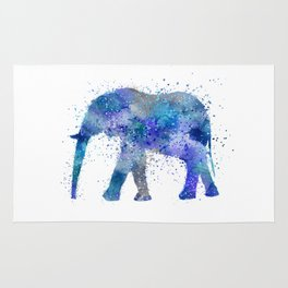 Blue Watercolor Elephant Rug