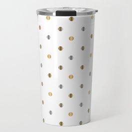 Silver and Gold Polka Dot Design Travel Mug