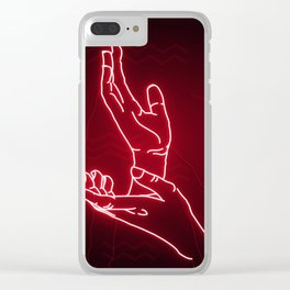 Red Neon Meanwhile Clear iPhone Case