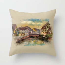 panorama city of Colmar France Throw Pillow