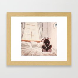 Stuffed Rabbit Framed Art Print
