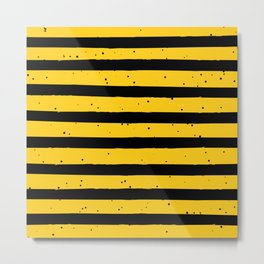 Black Yellow Vintage Stripes Pattern Metal Print