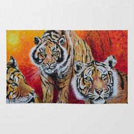 Three Lucky Tigers Rug
