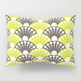 brown and lime art deco inspired fan pattern Pillow Sham