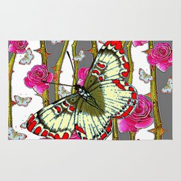 ORIENTAL STYLE BUTTERFLY & PINK ROSES GREY PATTERN DESIGN Rug