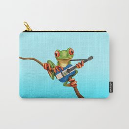 Tree Frog Playing Acoustic Guitar with Flag of El Salvador Carry-All Pouch