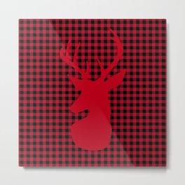 Red Plaid Deer Stag Design Metal Print