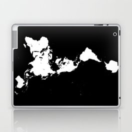 Dymaxion World Map (Fuller Projection Map) - Minimalist White on Black Laptop & iPad Skin