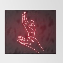 Red Neon Meanwhile Throw Blanket