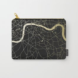 London Black on Gold Street Map Carry-All Pouch