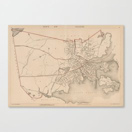 Vintage Map of Salem Massachusetts (1891) Canvas Print