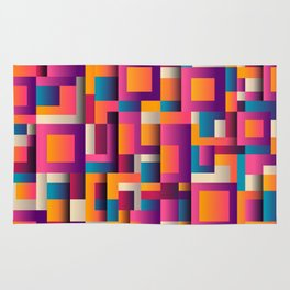 Abstract Geometric Shapes Bold Colors Rug