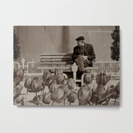 """Old man outside Sultan Ahmed Mosque (""""Blue Mosque"""", Istanbul, TURKEY) Metal Print"""