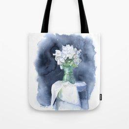White Peonies Watercolor Tote Bag