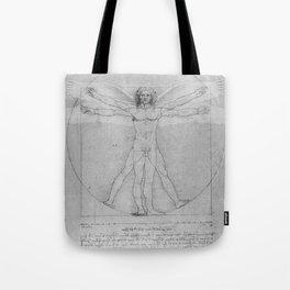 Leonardo da Vinci Vitruvian Man with Wings Study of Angels Tote Bag