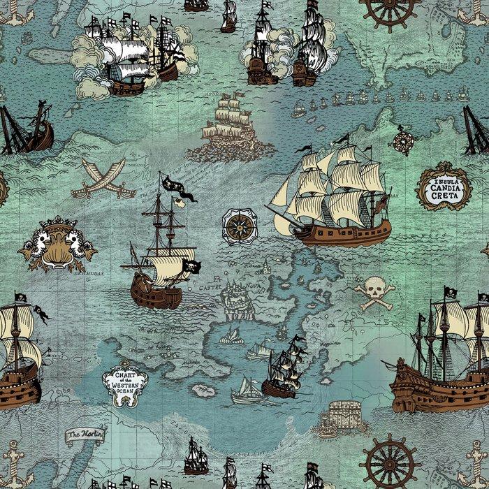 Pirate Ships Nautical Map Leggings