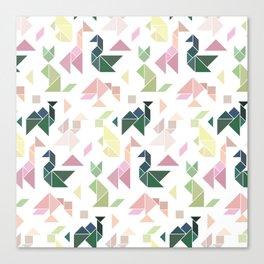Pastel Tangrams Pattern Canvas Print