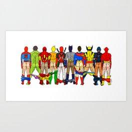 Superhero Butts LV Art Print