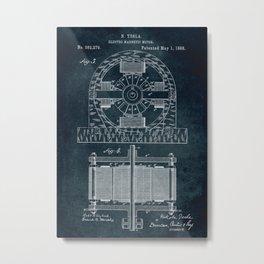 1888 Electro magnetic motor by Nikola Tesla Metal Print