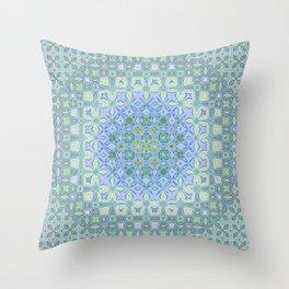 light blue butterfly kaleidoscope Throw Pillow