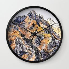 Jagged Mountain Sketch Wall Clock