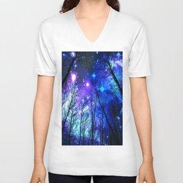 black trees purple blue space Unisex V-Neck
