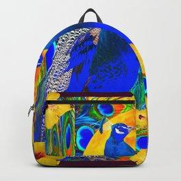 BURGUNDY  TROPICAL YELLOW HIBISCUS & BLUE PEACOCKS Backpack