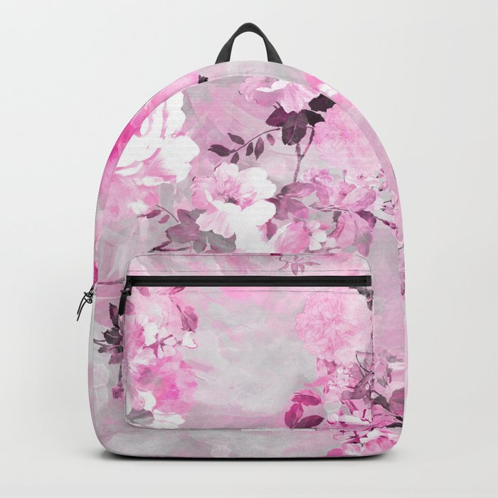 Purple grey floral watercolor romantic flowers pattern Backpack