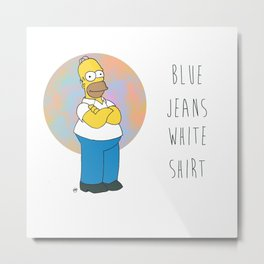 Homer S. (Blue Jeans, White Shirt) Metal Print