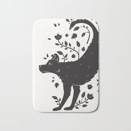 Dogs of Fall - black and white Bath Mat