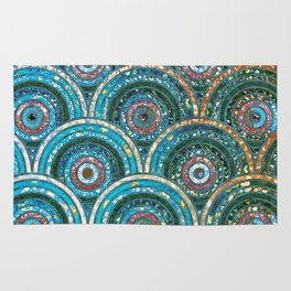 Aqua Teal Blue and Green Sparkling Faux Glitter Circles and Dots Rug