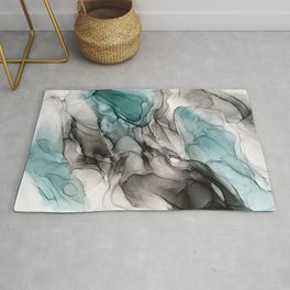 Smoky Grays and Green Abstract Flow Rug