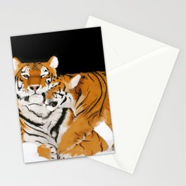 Tiger cub and mom (cheek-bump) Stationery Cards