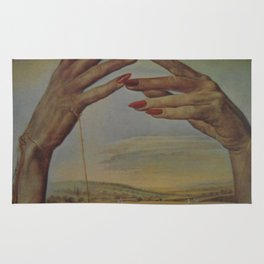 PORTRAIT OF A PASSIONATE WOMAN  (The Hands)  by Salvador Dali Rug