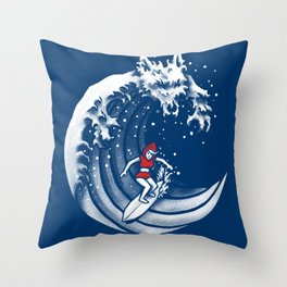 Little Red Surfing Hood Throw Pillow