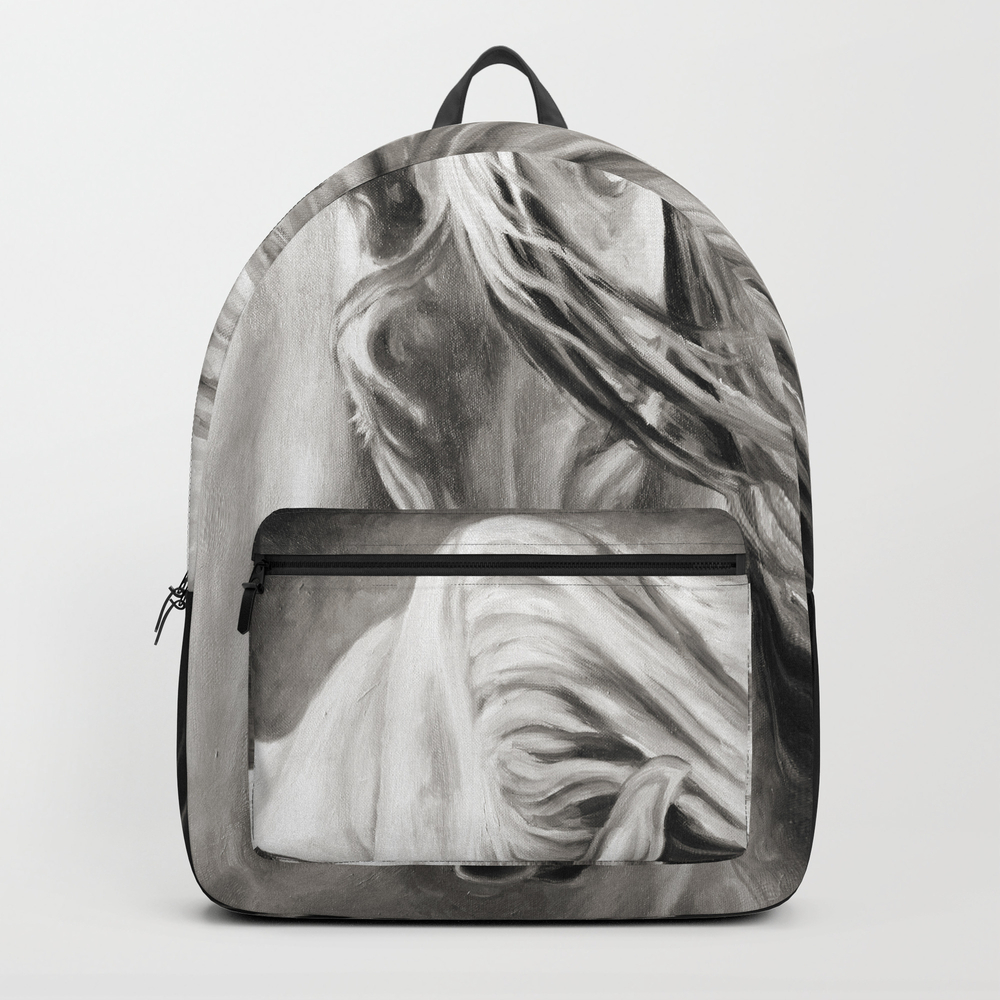 Andalusian Horse Oil Painting Monochrome Backpack by Eveystudios BKP8701173